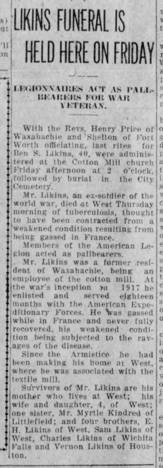 Waxahachie Daily Light 15JUN1928 - I 1 LIKINS FUNERAL IS HELD HERE BN FRIDAY...