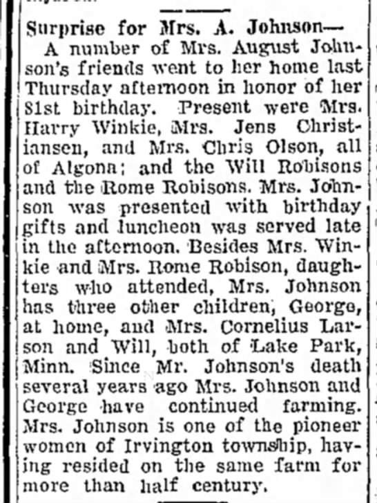 Johnson, Christine NelsonKossuth County Advance (Algona, Iowa) 22 March 1934 - Surprise for Mrs. A. Johnson— A number of Mrs....