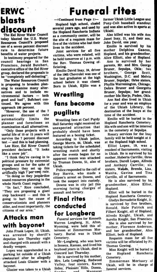 Car accident 13 mar 1972. Ukiah, California. - ERWC blasts Funeral rites discount The Eel...