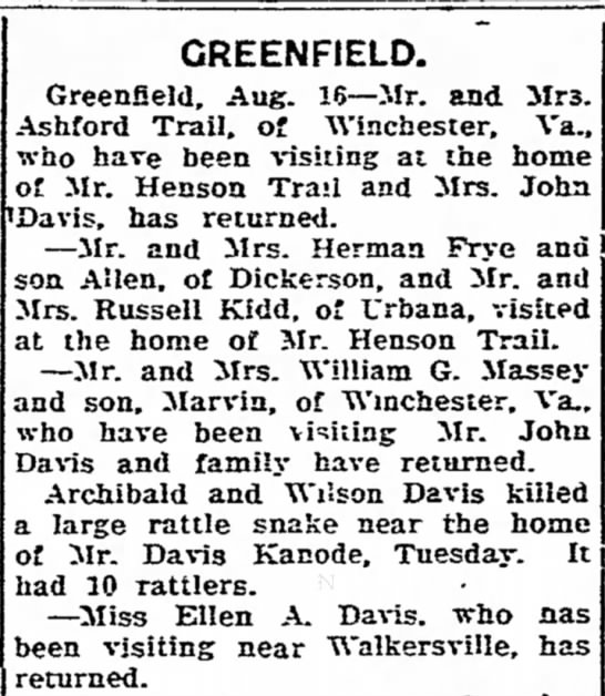 GreenField News Trails, Davis, Frye Families - CREENFIELD. Greenfield, Aug. 16--Mr. and Mrs....