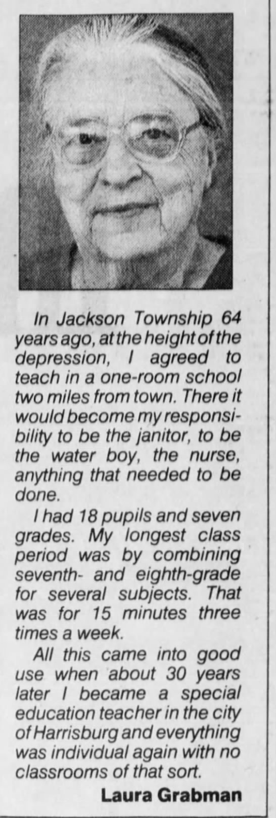 Pittsburgh Post Gazette - 4 Sep 1994 - interview with Laura Rebecca Grabman about school memory - . '-Aw '-Aw '-Aw In Jackson Township 64 years...