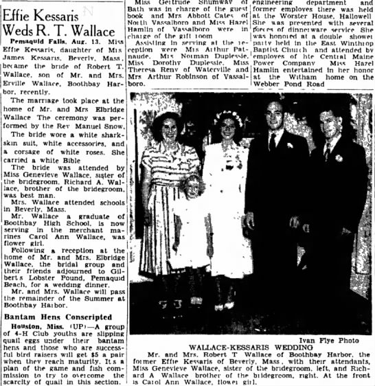 Boothbay Harbor - General - Effie Kessans Weds R. T. Wallace two sons,...