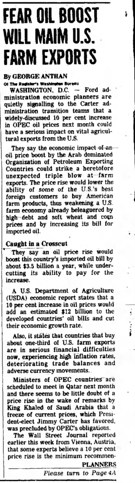 Fear Oil Boost Will Maim US Farm Exports #1 11/20/76