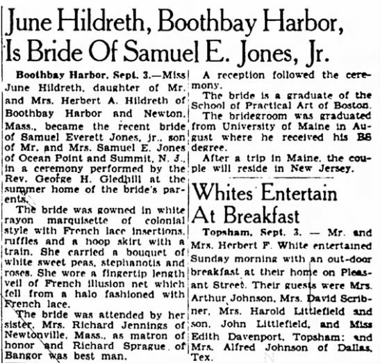 June Hildreth & Samuel E. Jones Jr. Marriage announcement