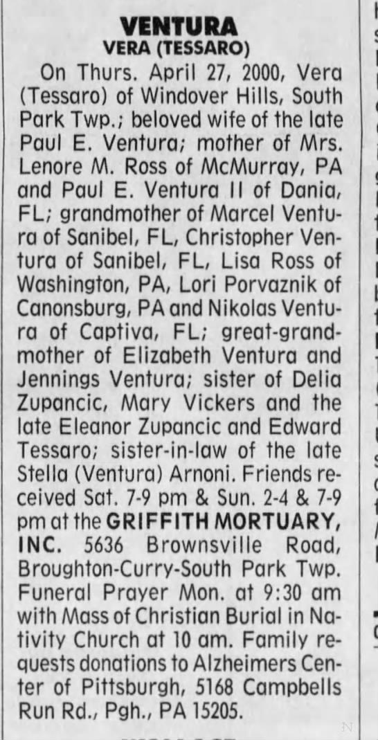Vera Tessaro obituary, wife of Paul Ventura, Sr. - VENTURA VERA (TESSARO) On Thurs. April 27,...
