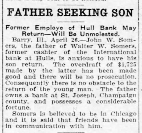 - FATHER SEEKING SON Former Employe of Hull Bank...