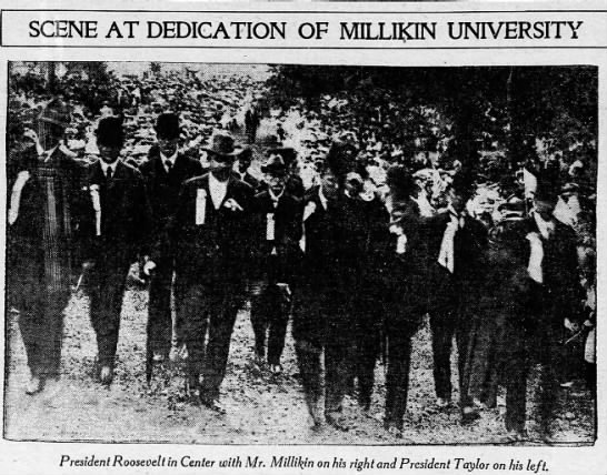 MILLIKIN, JAMES_Revisit MU Dedication with Roosevelt_The Decatur Herald_03MAR, 1909, Wednesday p1 - SCENE AT 1 JT .L. . ; '...