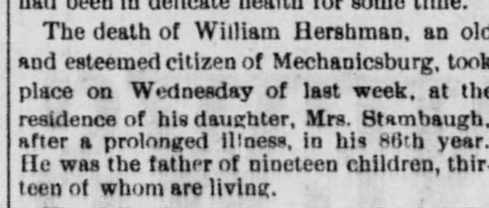 wm hershman obit - some The death of William Hershman, an old and...
