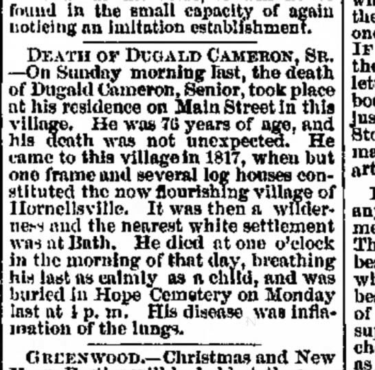 Obit Dugald Cameron of Hornellsvilille, 2 Dec 1869 Hornellsville Weekly Tribune - nud thun I when iTc-crlptlon fur fear my cut of...