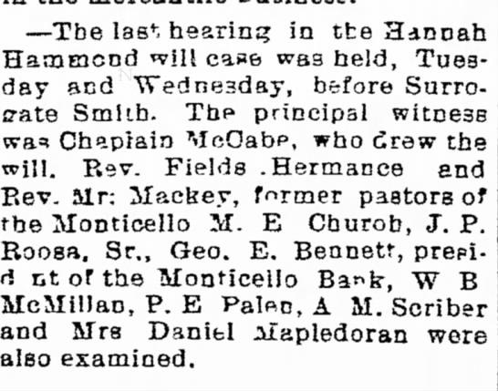 1896 02 15 Hannah Roosa Hammond will case last hearing before Surrogate Smith - --Tbe las v , hearing in tte Hannah Hammond...