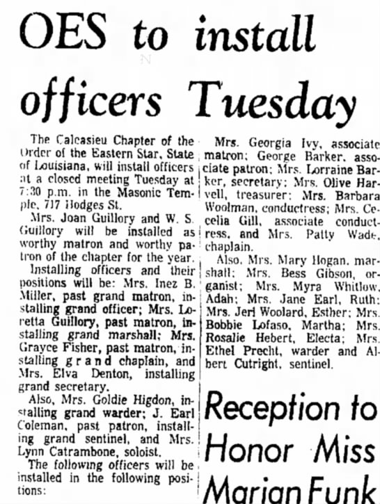 Coleman, Mrs. Earl - Order of the Eastern Star mention as past patron, 2 Jan 1967, Lake Charles-Amer