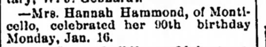 Hannah Roosa Hammond celebrates 90th birthday - school -- Mrs. Hannah Hammond, of Monticello,...