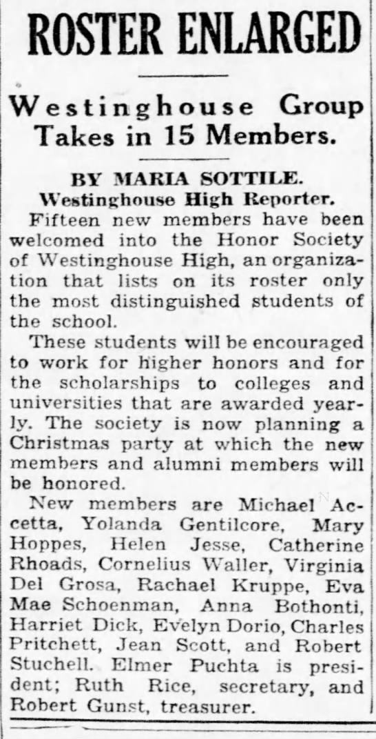 1934 Dec Michael Accetta accepted into Westinghouse High (Pittsburgh post Gazette) - ROSTER ENLARGED Westinghouse Group Takes in 15...