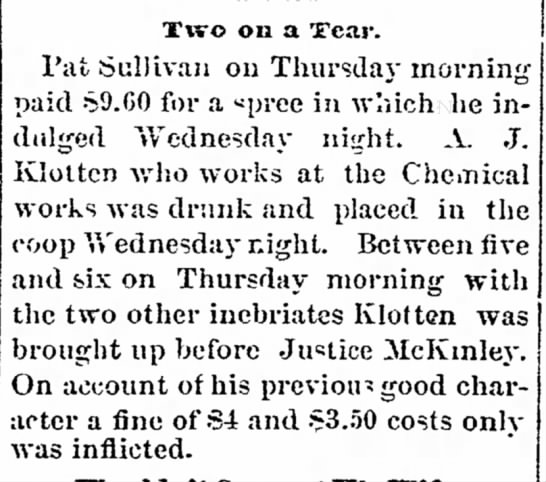 "A. J. Klotten Drunk & Fined - ex- behalf"" the are by Two on a OTear. Pat..."