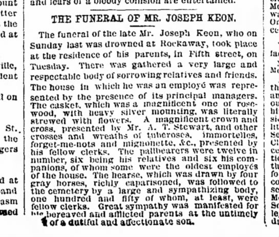 Funeral of Joseph Keon - Count a letter that the aimed at oa St.. on'...
