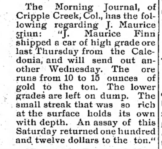 J. Maurice Finn, High grade ore - The Morning Journal, of Cripple Creek, Col.,...