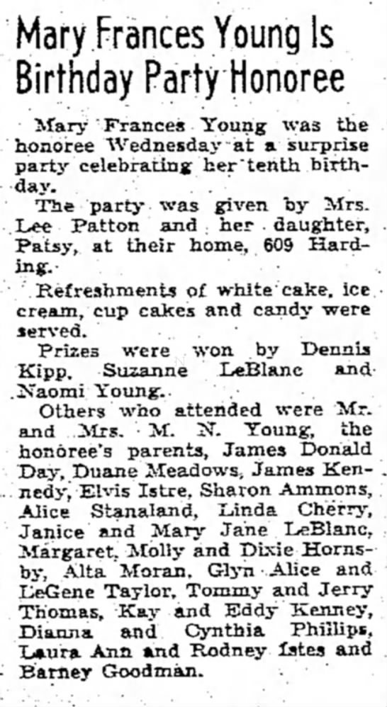 Mary Frances Young_Baytown Sun_2-9-1951 - Mary Frances Young Is Birthday Party Honoree...