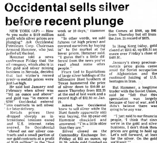occidental sells - Occidental sells silver before recent plunge...