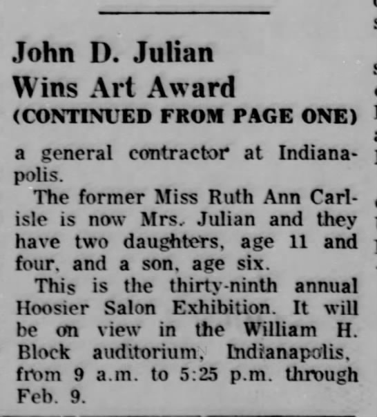 - John D. Julian Wins Art Award (CONTINUED FROM...