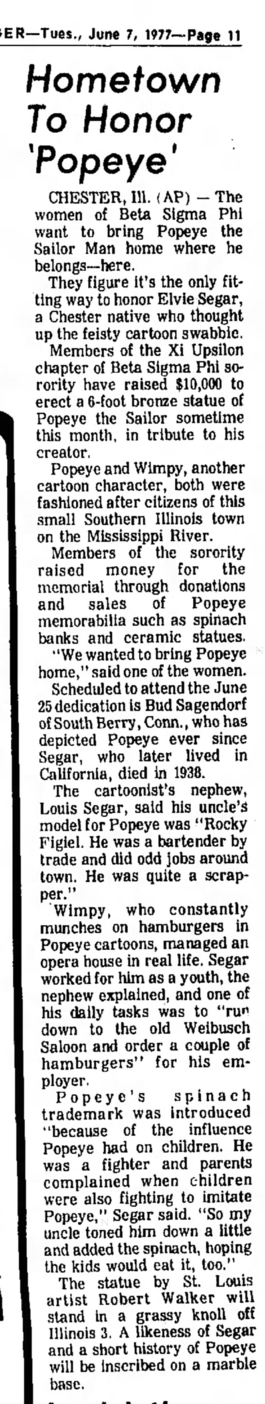 Popeye statue to be erected - June 7, 1977—Page 11 Hometown To Honor 'Popeye...