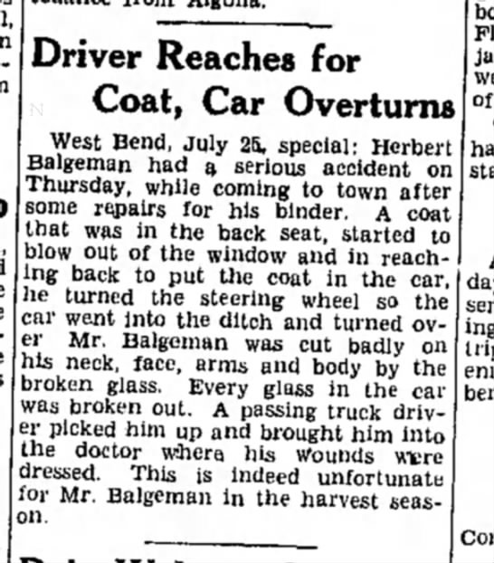 herbert balgeman car accident 1933 - Driver Reaches for Coat, Car Overturns West...