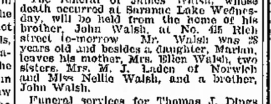 1904 James Walsh Death