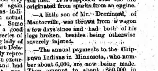 Boy of Mr. Drominard of Mantorville thrown from wagon. - again indicate, actual Some a good series of...
