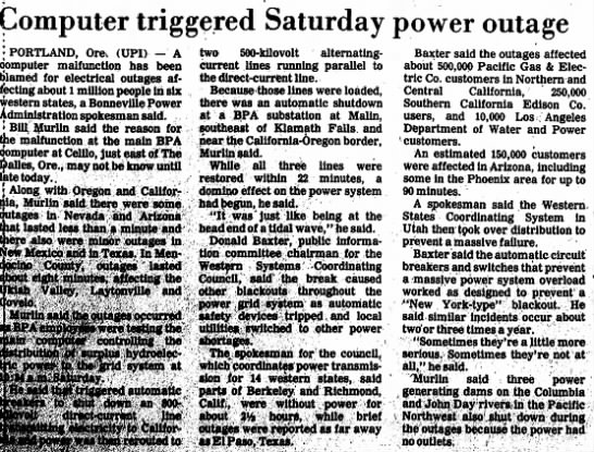 Ukiah Daily Journal page 2 - Computer triggered Saturday power outage j...