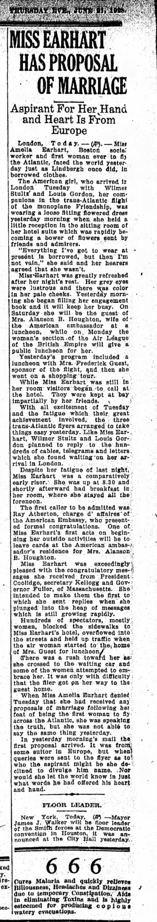 Miss earhart has proposal of marriage - MISS EARH ART HAS PROPOSAL OF MARRIAGE Aspirant...
