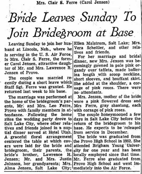 4 August 1955 Clair Stubbs Ferre and Carole Beth Jensen