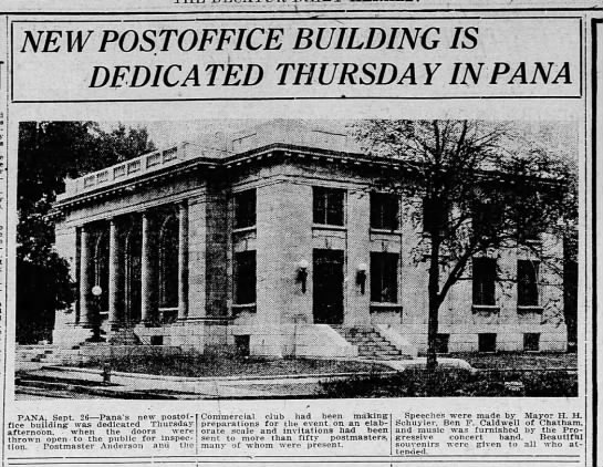 Decatur Herald 28 Sep 1912 page 10 new post office - NEW POSTOFFICE BUILDING IS DEDICATED THURSDAY...