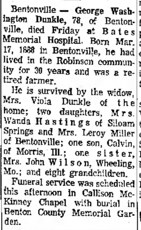 George W Dunkle Obituary