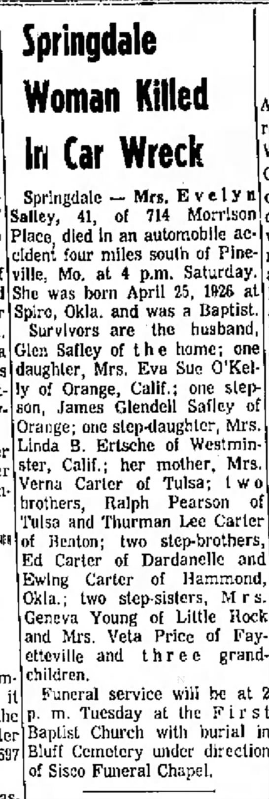 Safley, Evelyn Northwest AR Times, Fayettville 12-4-1967 - by a o nca boat boat- div- Springdale Woman...