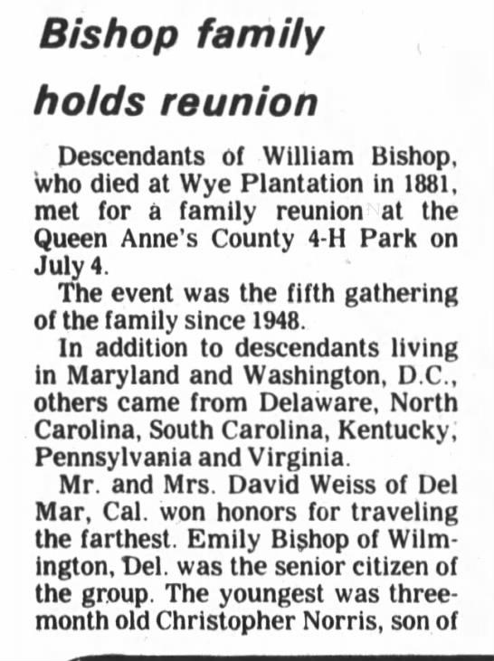 Scott Christopher Norris, Bishop family reunion - Bishop family holds reunion Descendants of...