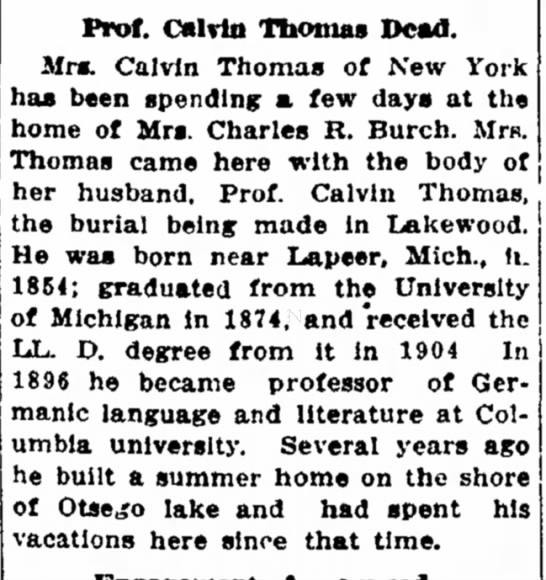 Calvin Thomas Death - of on ! I [ i by May Prof. Calvin Thomas Dead....