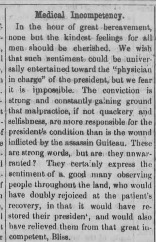 Article questioning the competency of Garfield's doctor