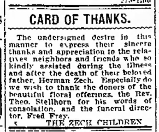 Public Thanks from the children of Herman Zech - CARD OF THANKS. S E R V I C E The undersigned...
