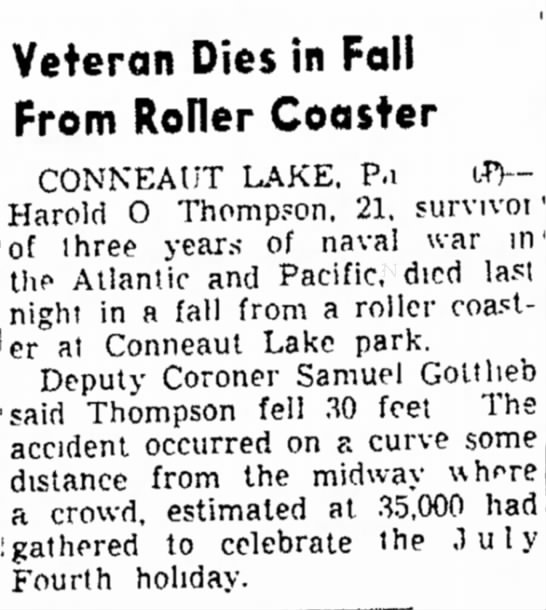 Times Recorder 4/5/1946 Vet dies on coaster - in a fall from a roller coasi- n e a Lake park....