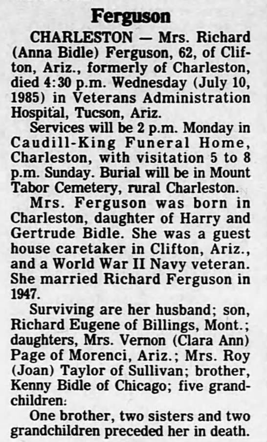- Ferguson CHARLESTON - Mrs. Richard (Anna Bidle)...