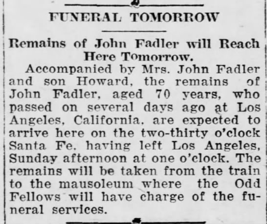 John Fadler Obit - FUNERAL TOMORROW Remains of John Fadler will...