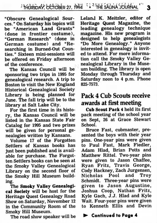 """Nov 12 1994 Heritage Quest Road Show, Salina KS - Leland K Meitzler, speaker. - J """"Obscure Genealogical Sources. Sources. """" On..."""