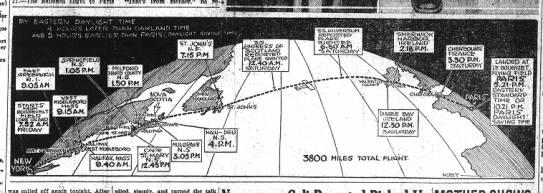 """Map of Lindbergh's transatlantic flight - tot ' ?i . .re- 15"""" R.I. . Q.05AH was pk 1..."""