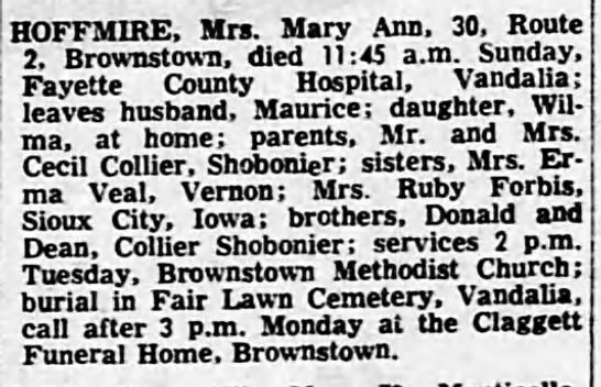Mary Ann Collier Hoffmire Death - HOFFMIRE, Mrs. Mary Ann, 30. Route 2,...