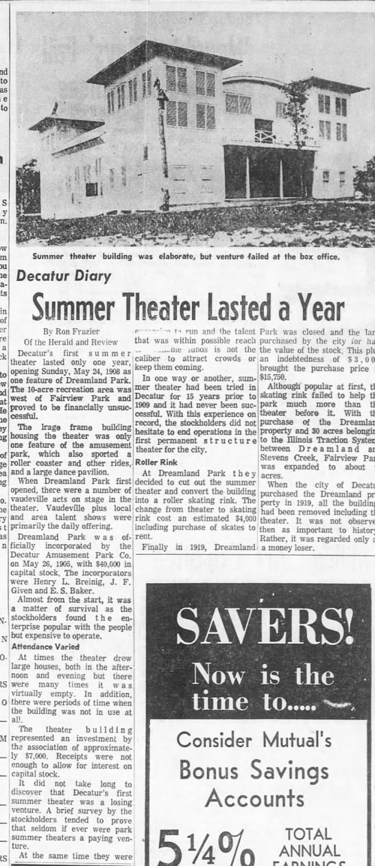 Fairview Park Dreamland theater lasted one year - to as to y he in of a to of st stk Summer...