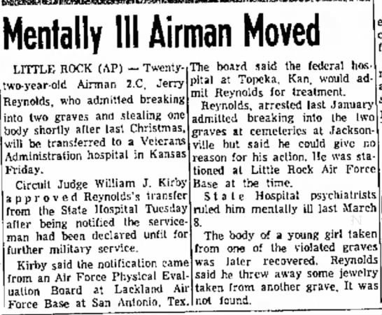 Northwest Ark Times 14 Jun 1961 - Mentally III Airman Moved LITTLE ROCK (AP) --...