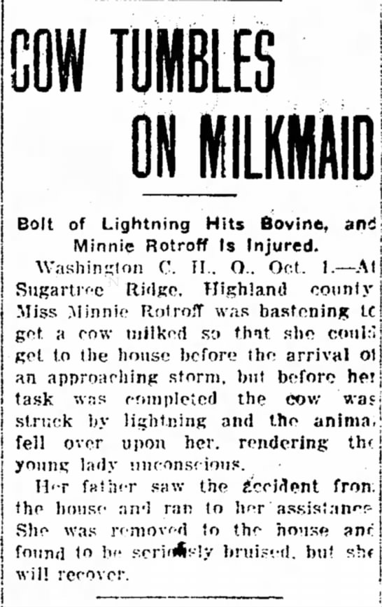 Rotroff_Minnie_2oct1910 - is s j is i: j t , m Bolt of Lightning Hits...