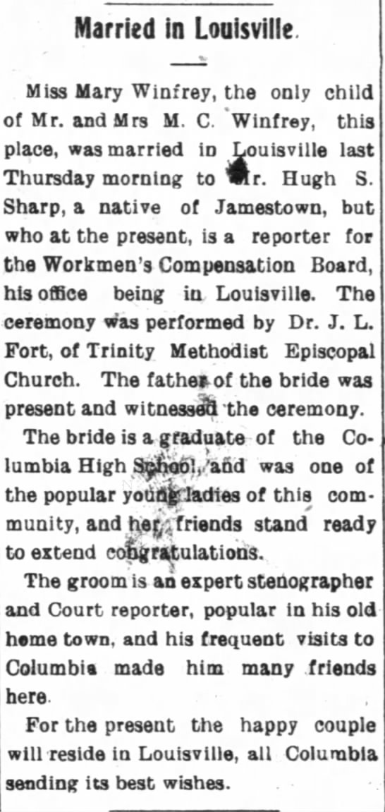 Winfrey-Sharp marriage, The Adair County News, 13 Sep 1921, page 1 - Married in Louisville. Miss Mary Winfrey, the...