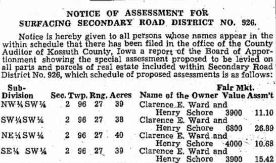 Notice of Assessment for Surfacing Secondary Road District No. 926 - NOTICE OF ASSESSMENT FOfe SURFACING SECONDARY...