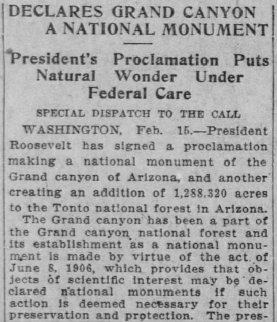 Grand Canyon declared a national monument - DECLARES GRAND CANYON A NATIONAL MONUMENT...