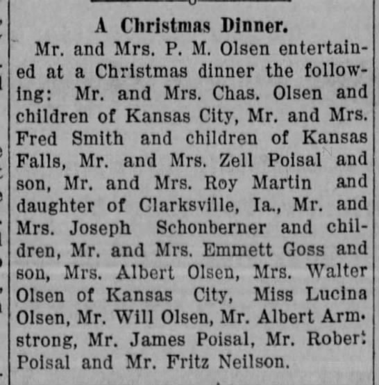 28 Dec 1911 Olsen Family Christmas - A Christmas Dinner. Mr. and Mrs. P. M. Olsen...